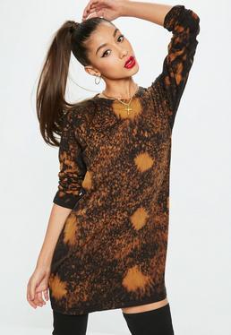 Black Tye Dye Long Sleeve Dress