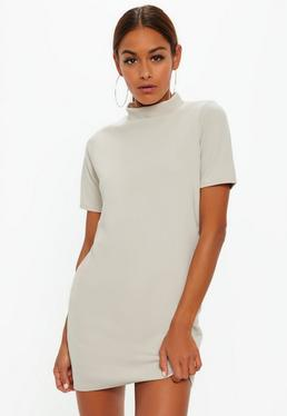 Grey High Neck Short Sleeve Shift Dress