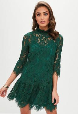 Teal Lace Frill Sleeve High Neck Dress