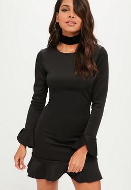 Black Frill Hem Scuba Shift Dress