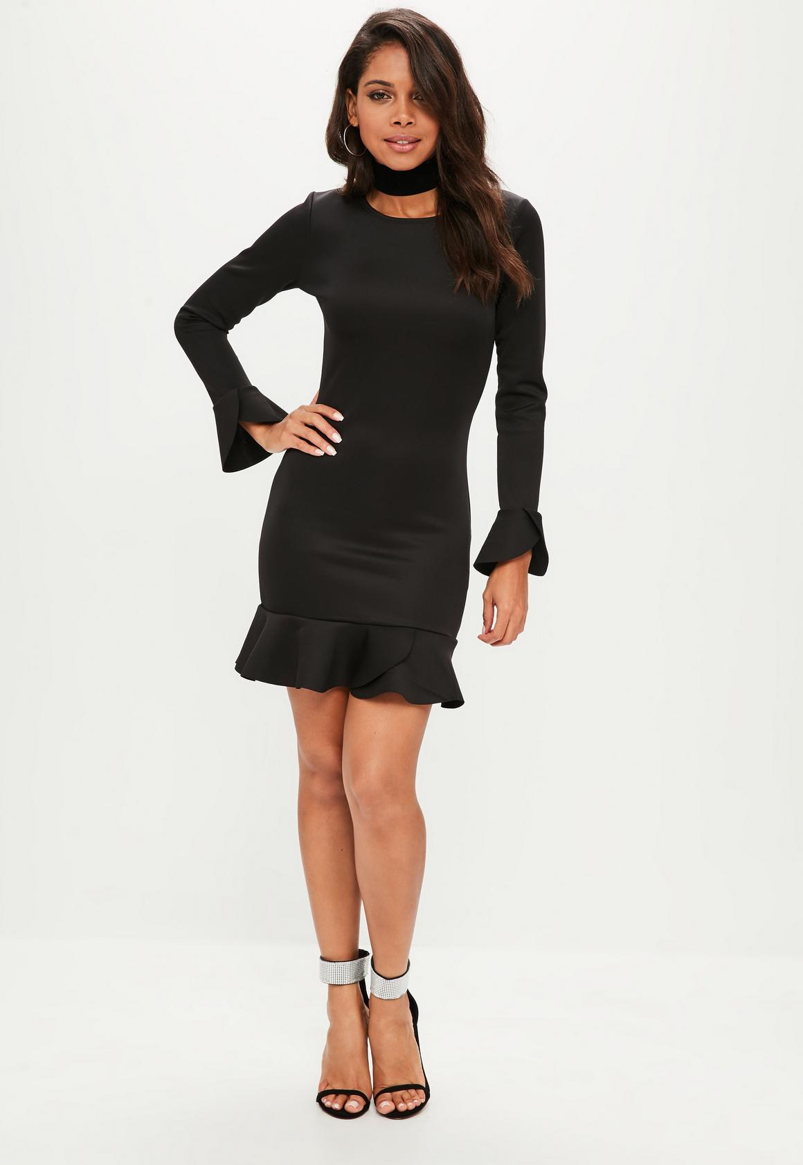 23cdbff177b Missguided - black long sleeve frill hem scuba shift dress
