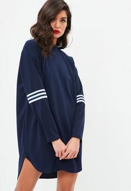 Vestido sudadera con doble raya en azul marino
