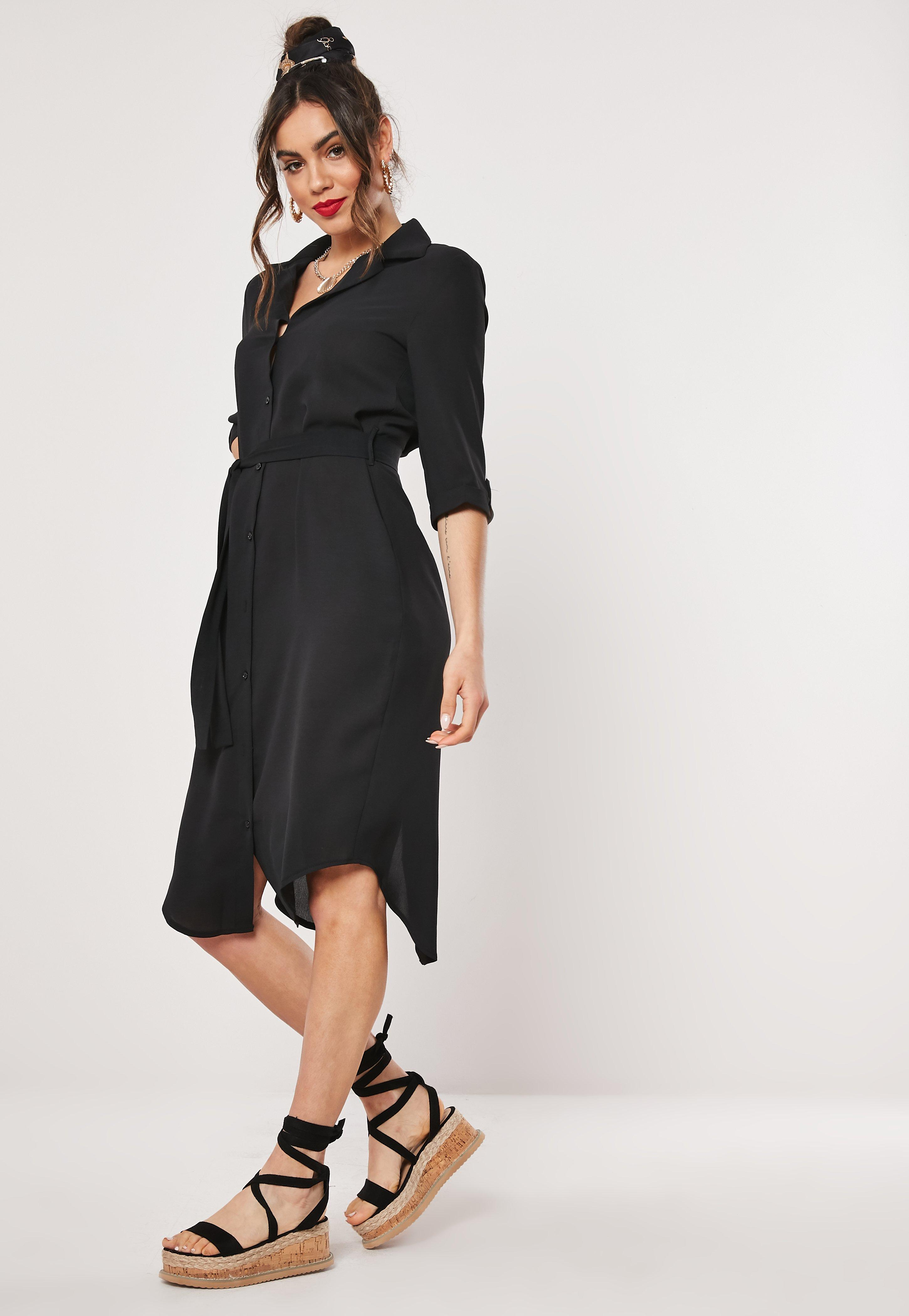 Missguided Tie Belt Midi Shirt Dress Free Shipping Official Wide Range Of Online L6x0sdVYyO