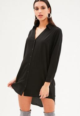 Vestido camisa con cuello de manga larga en negro
