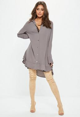 Grey Long Sleeve Frill Hem Shirt Dress