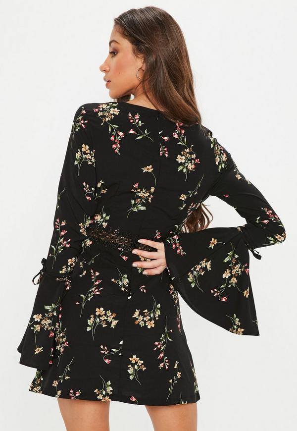 Black Floral Lace Insert Waist Tie Sleeve Skater Dress by Missguided
