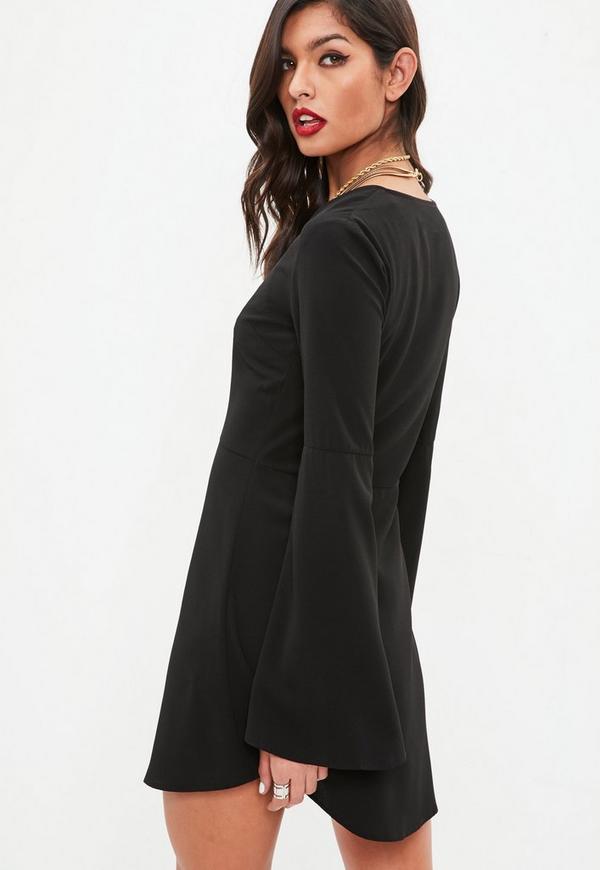 c4c101a03fb ... Black Flare Sleeve Button Down Skater Dress. Previous Next