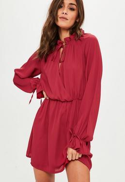 Red High Neck Long Sleeve Skater Dress