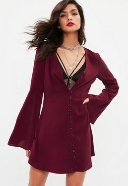 Burgundy Button Down Flared Sleeve Skater Dress