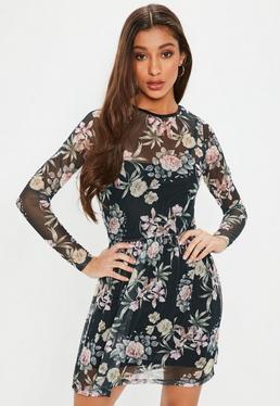 Black Long Sleeve Floral Mesh Dress