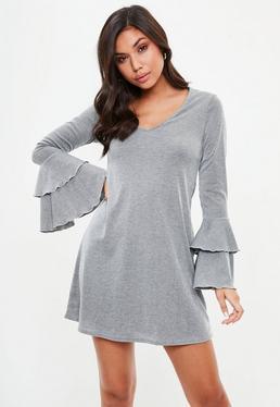 Grey Rib Frill Swing Dress