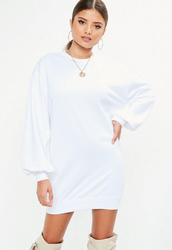 Robe blanche manche ballon