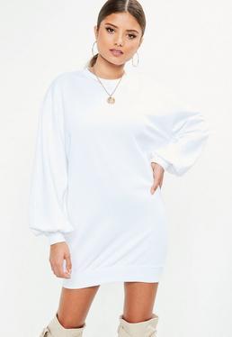 Vestido sudadera con manga globo en blanco
