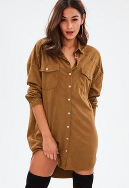 Tan Faux Suede Studded Shirt