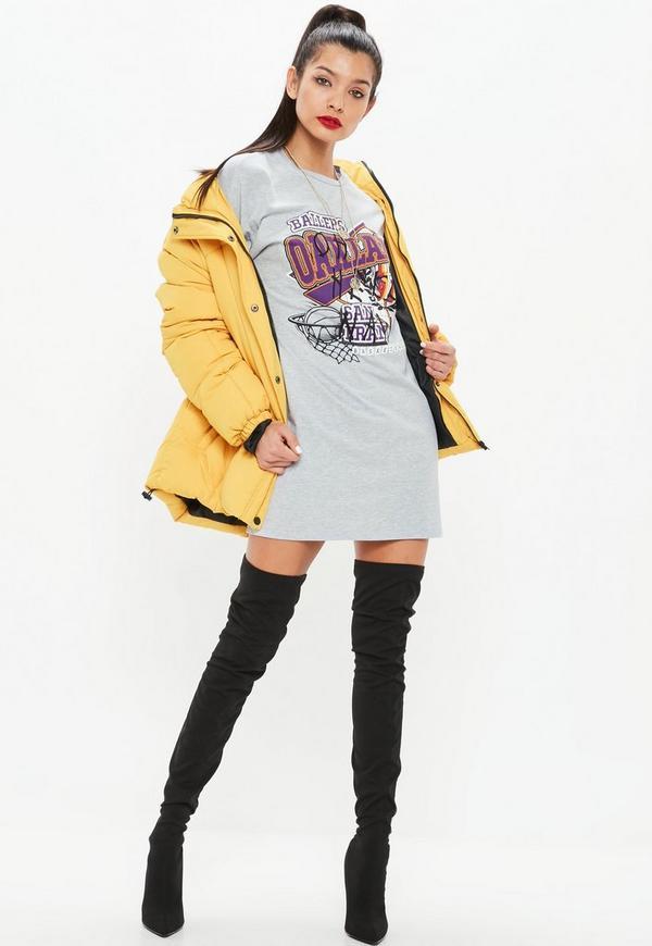 Grey Long Sleeve Ballers Basketball T Shirt Dress  3ee651f02f9