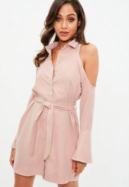 Pink Cold Shoulder Tie Shirt Dress
