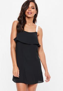 Black Georgette Cami Overlay Shift Dress