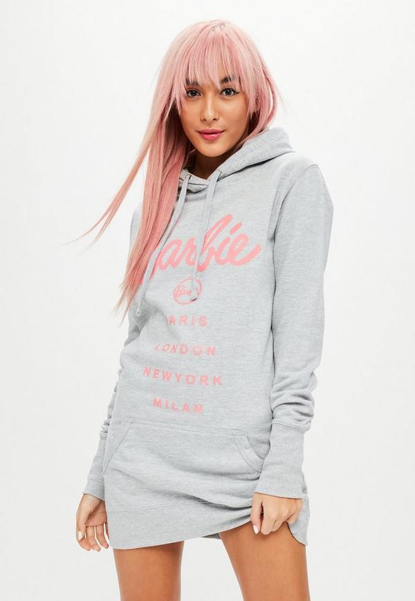 Barbie X Missguided Gray Hooded Sweatshirt Dress Missguided