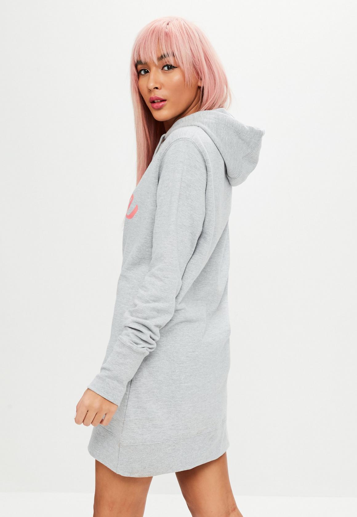 70ac7ee2d0 Missguided - Barbie x Missguided Grey Hooded Sweatshirt Dress
