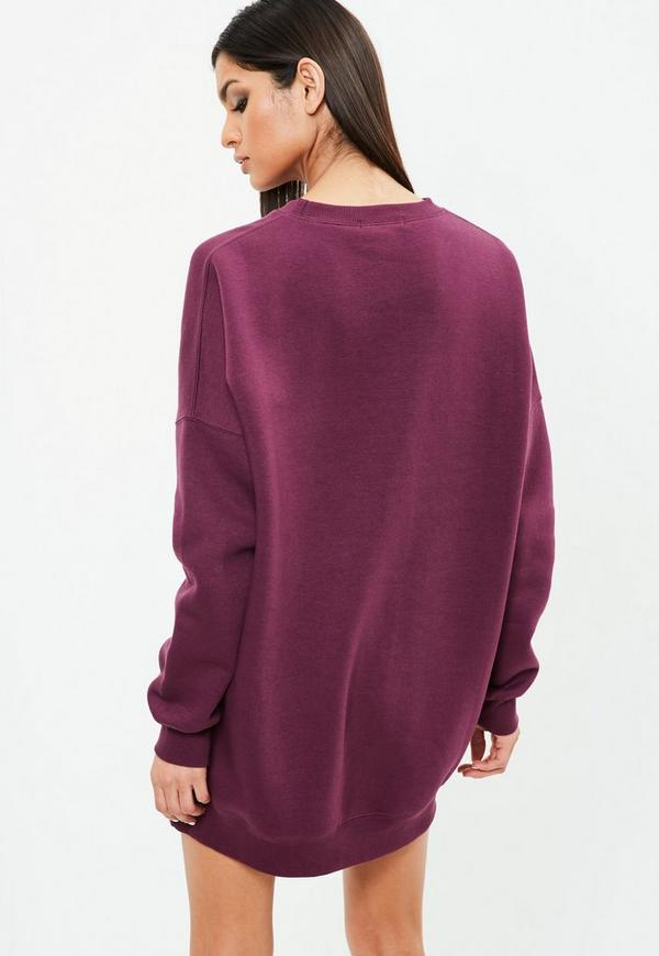 Carli Bybel x Missguided Purple Oversized Sweater Dress | Missguided