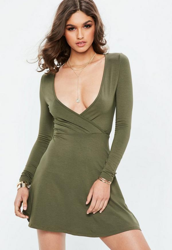 Khaki Long Sleeve Jersey Wrap Skater Dress by Missguided