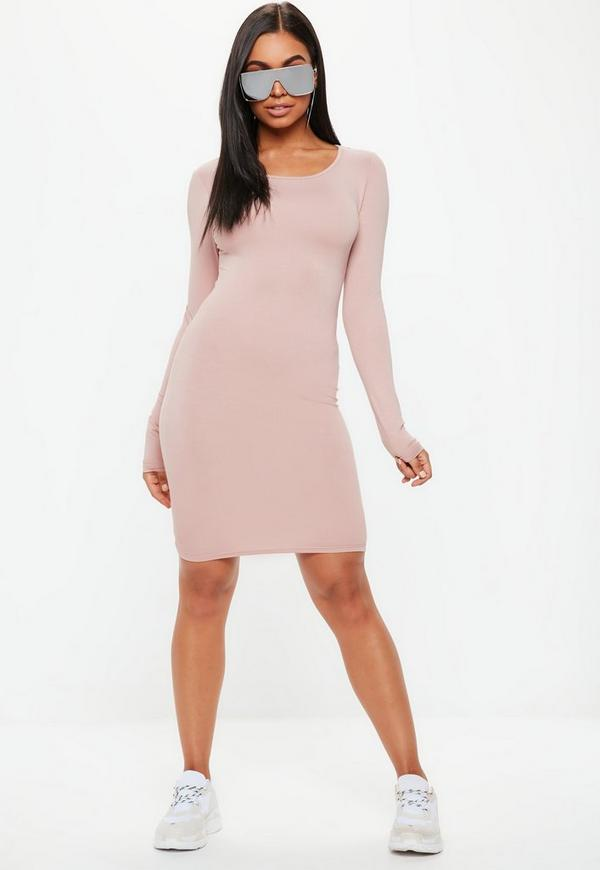 Look long sleeve scoop neck bodycon dress ruched jill
