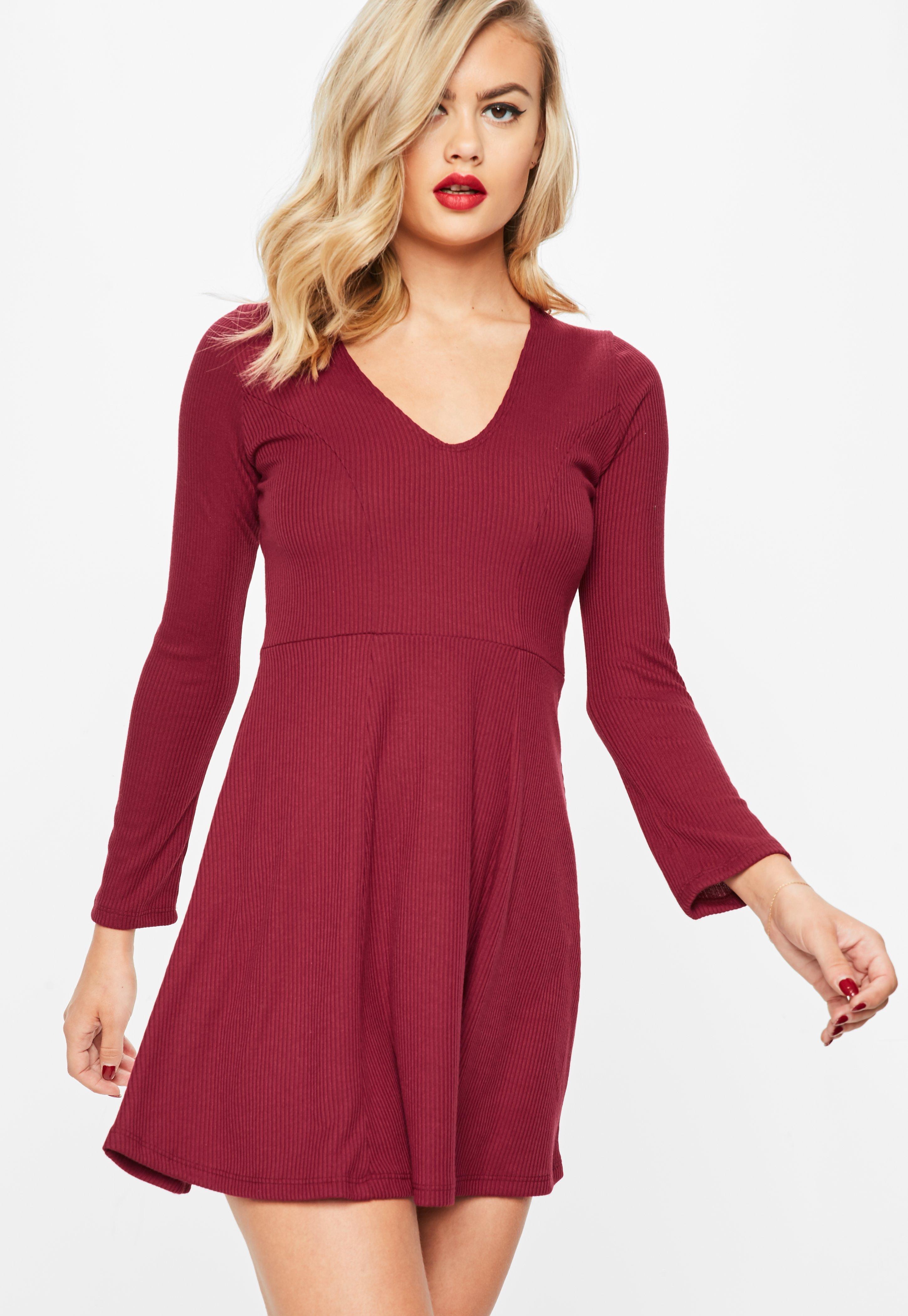 Long sleeve skater dress burgundy