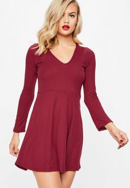 Burgundy Ribbed Long Sleeved Skater Dress