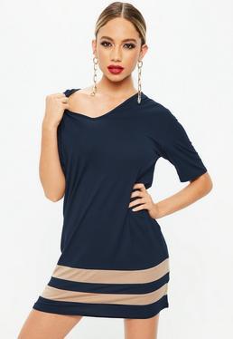 Navy Stripe V Neck T Shirt Dress