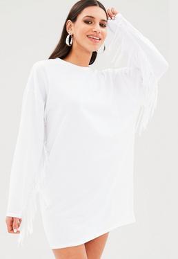 Vestido sudadera con flecos en blanco
