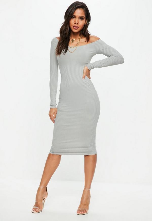 Blue Ribbed Midi Dress | Missguided