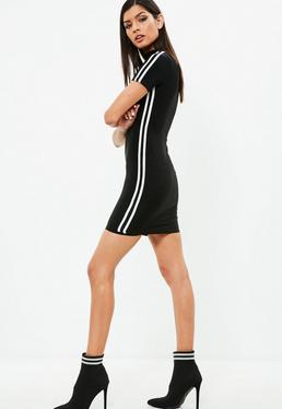 Carli Bybel x Missguided Black Stripe Slinky Dress