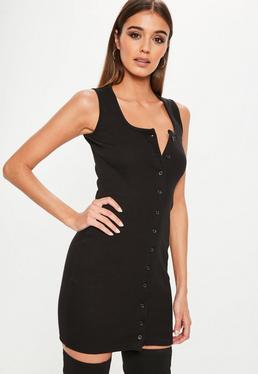 Black Sleeveless Ribbed Button Down Mini Dress