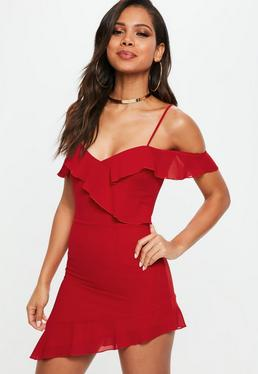 Red Cold Shoulder Tea Dress