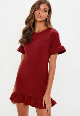Burgundy frill detail short sleeve dress