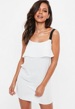 White Georgette Cami Overlay Shift Dress