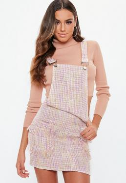 Pink Metallic Textured Pinafore Dress
