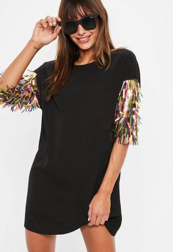 Black Sequin Sleeve Oversized T Shirt Dress Missguided