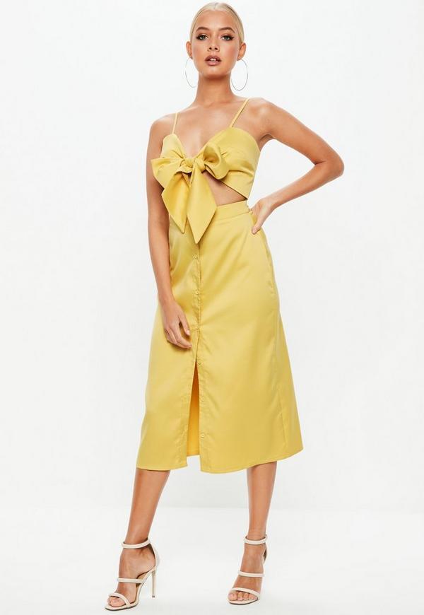 Mustard Tie Front Button Down Strappy Midi Dress  262920e76