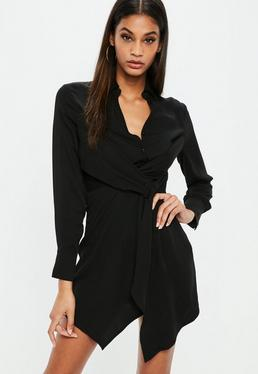 Black Asymmetric Knot Front Shirt Dress