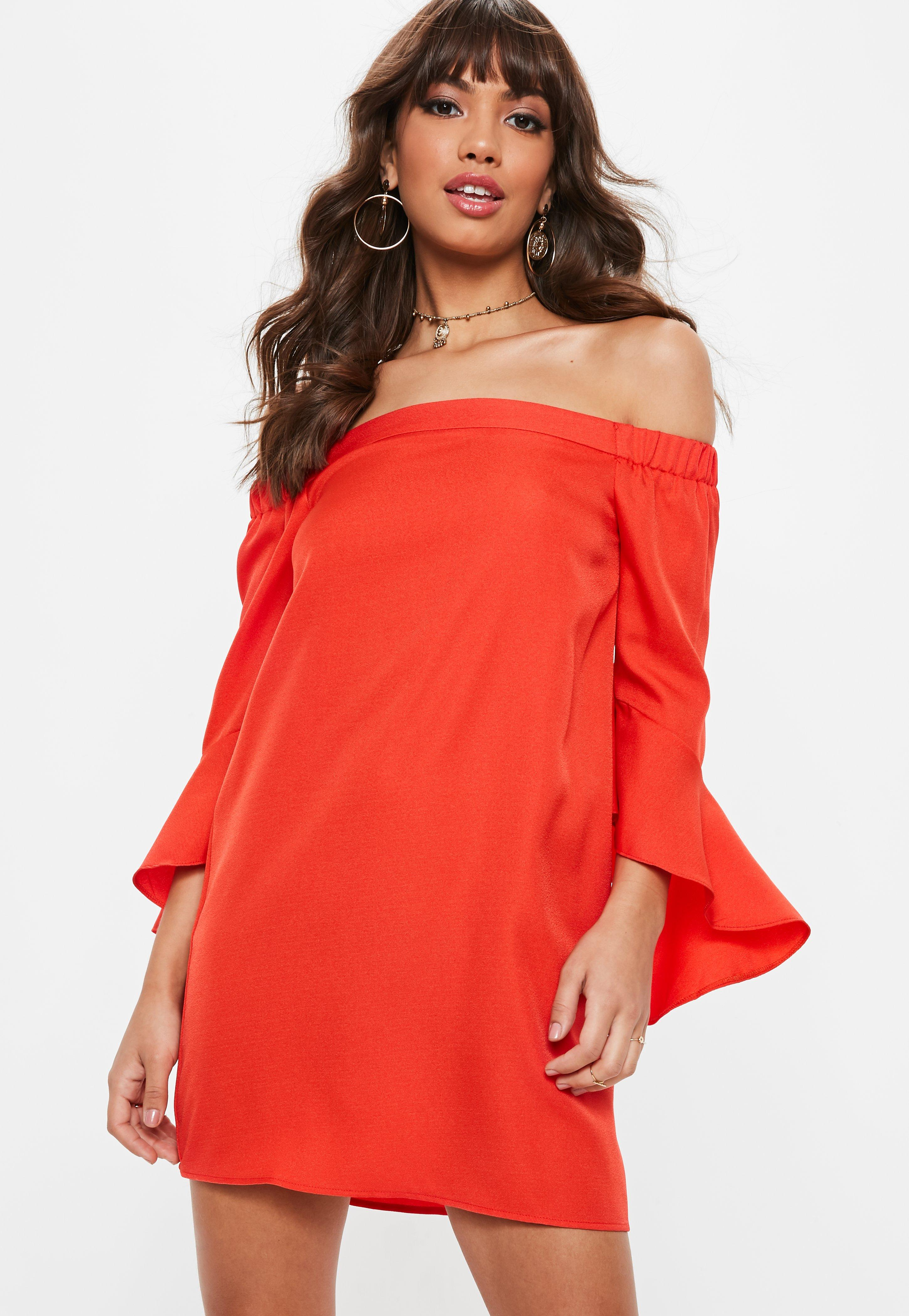 Orange Bardot Flared Sleeve Shift Dress Missguided