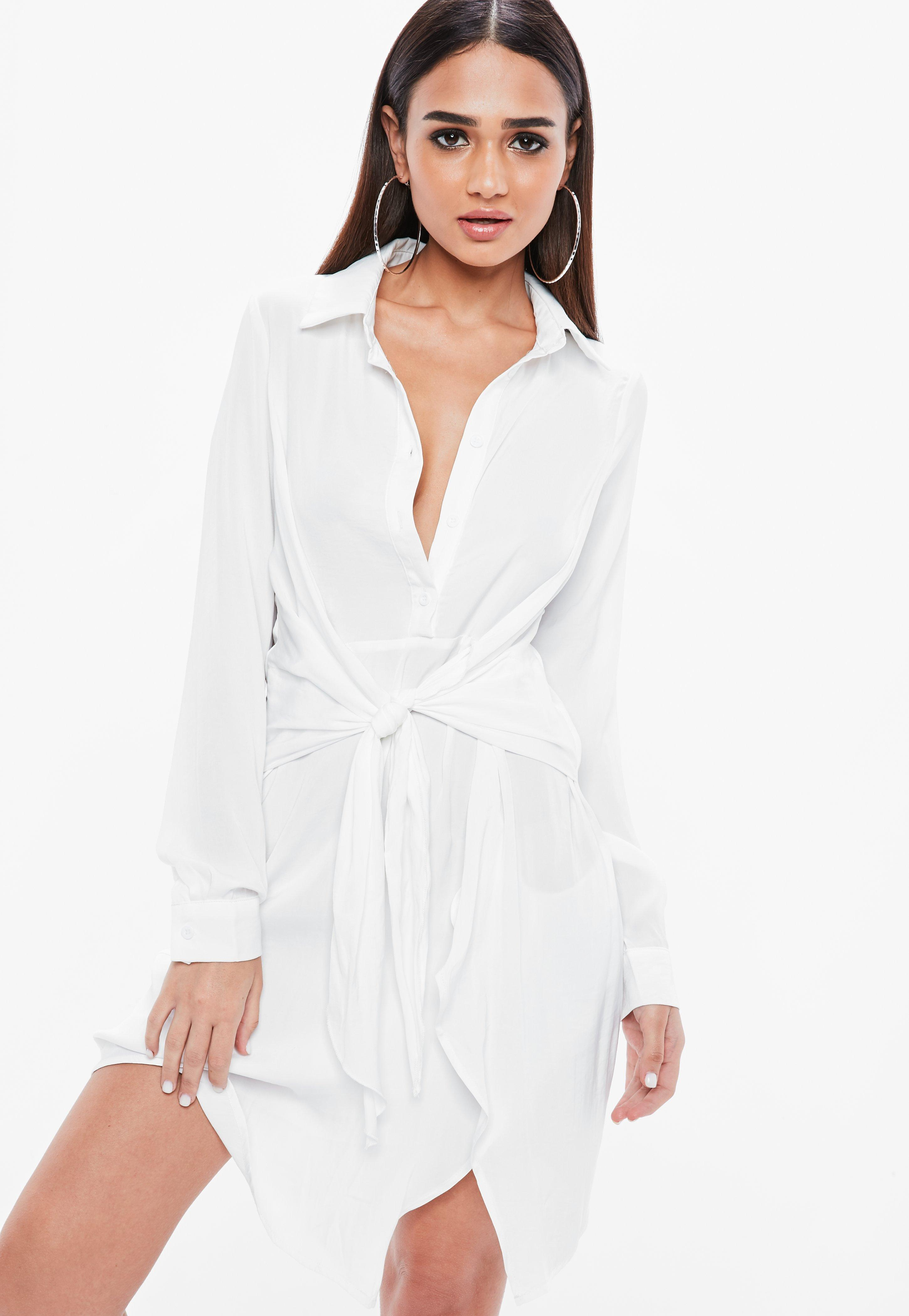 Missguided Tie Waist Satin Shirt Dress Largest Supplier Cheap Online 1D8R5