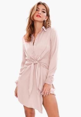 Pink Tie Waist Satin Shirt Dress