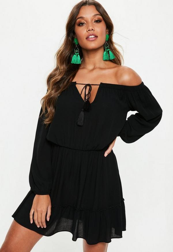 c665e9400c Black Bardot Tassel Skater Dress
