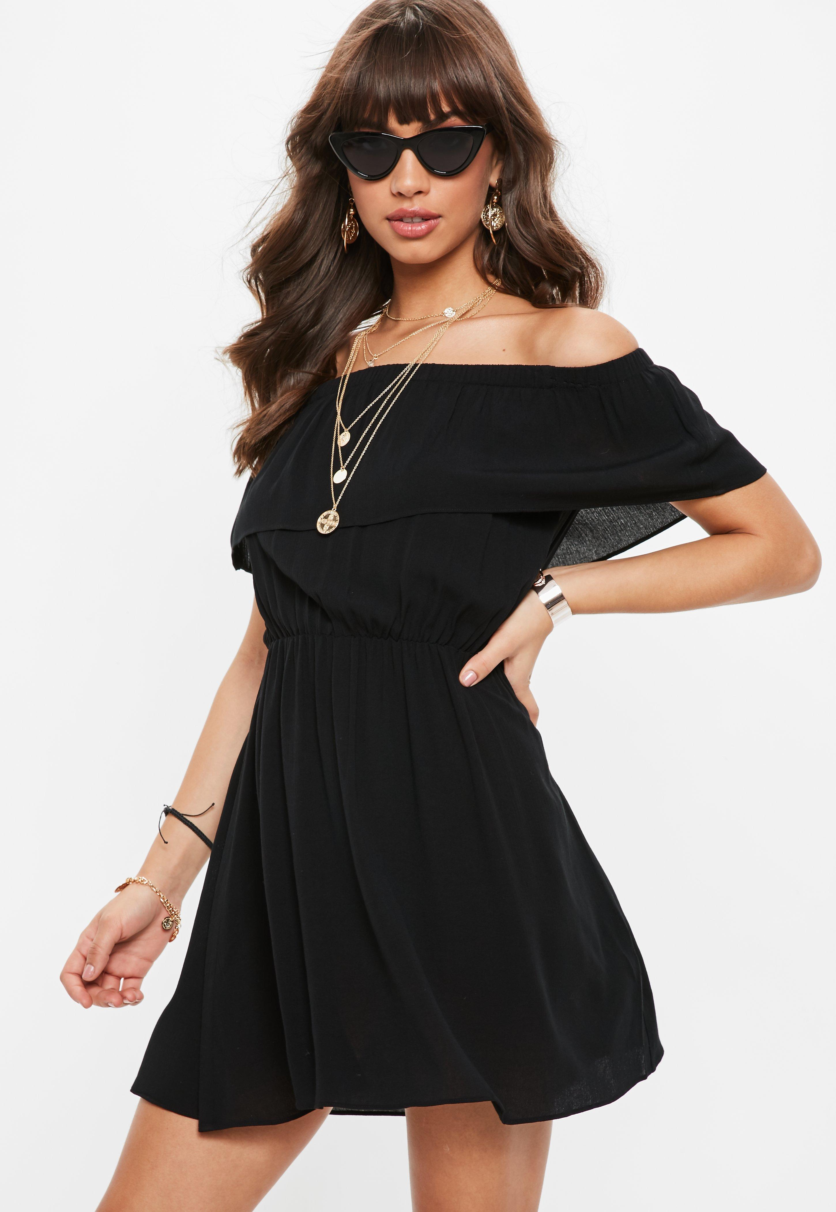 6997be9ef9b6 Black Bardot Skater Dress