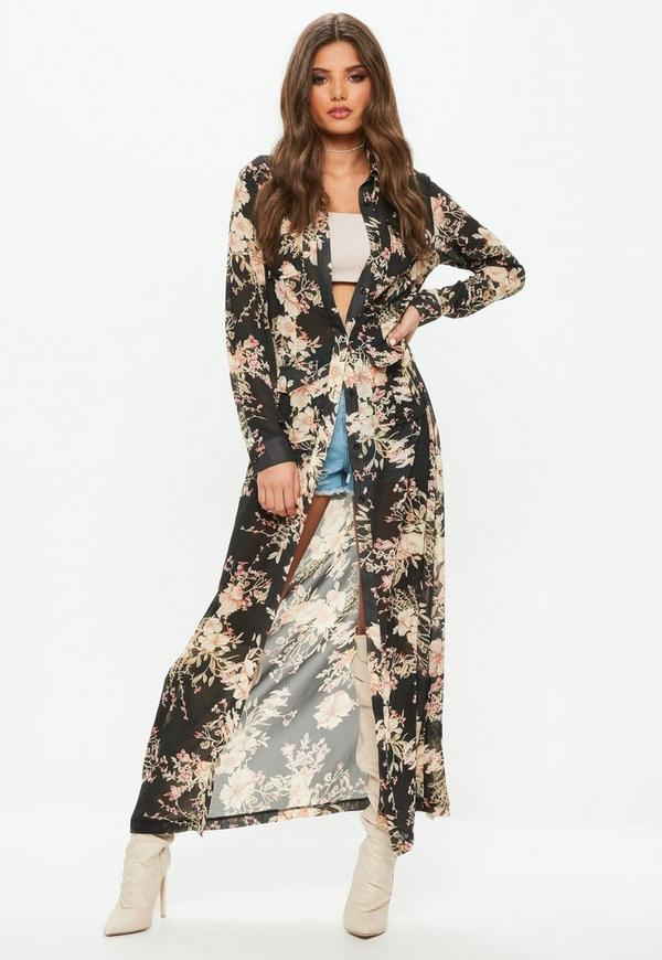 Black floral print long sleeve maxi shirt dress missguided for Robe chemise longue femme
