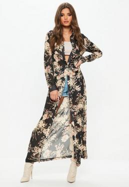 Vestido camisero largo de manga larga con flores en negro