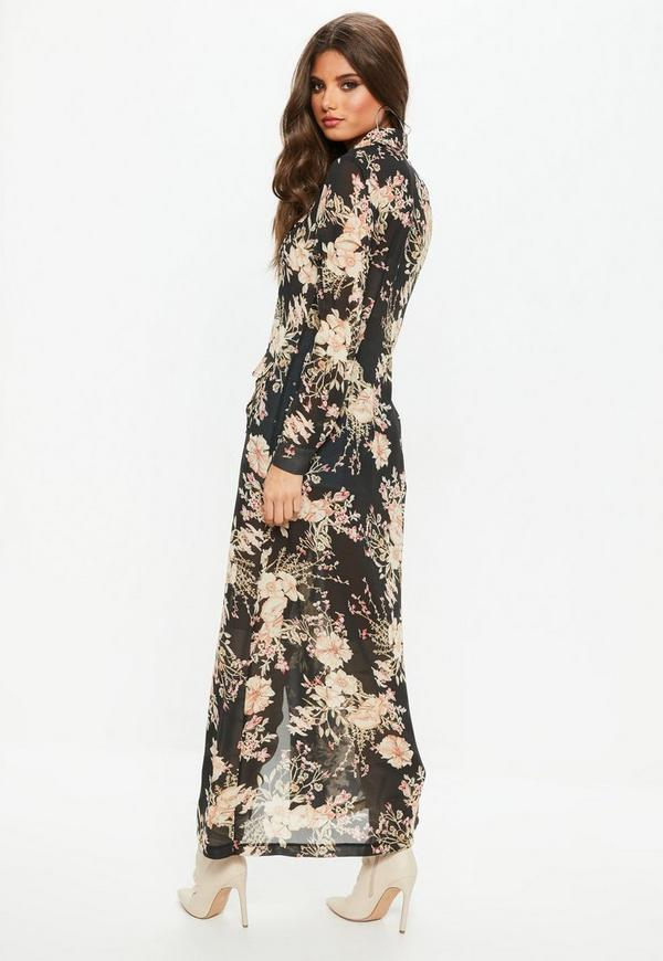 Black floral print long sleeve maxi shirt dress missguided for Black floral print shirt