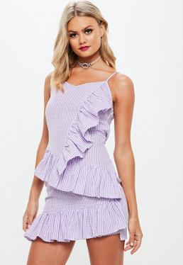 Lilac Frill Gingham Mini Dress