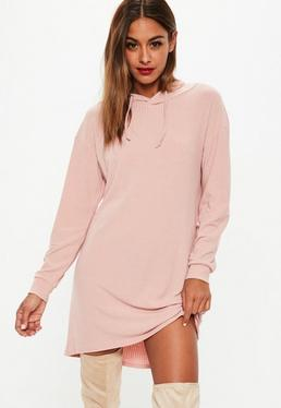 Pink Ribbed Slouchy Hooded Jersey Dress